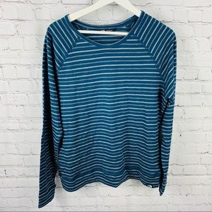 The North Face Blue & Gray Striped Long Sleeve Tee